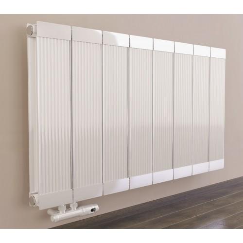 600 x 980 mm Aluminium Weiß Horizontal Heizkörper Seiten & Bittelanschluss