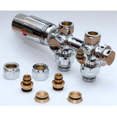Heizkörper Universal Armatur Set Für Chrom Mittelanschluss 50 mm Durchgang Eck Multiblock