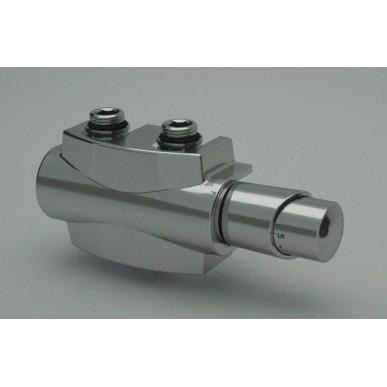 Heizkörper Armatur-Set für Mittelanschluss 50mm Eck Multiblock Chrom