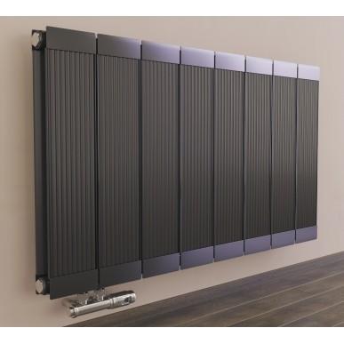600 x 1260 mm Aluminium Anthrazit Horizontal Heizkörper Seiten & Mittelanschluss