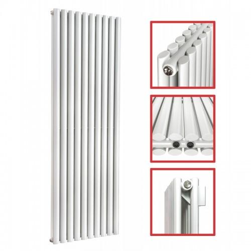 1800 x 590 mm Ellipse Doppellagig Weiss Seitenanschluss Paneelheizkörper