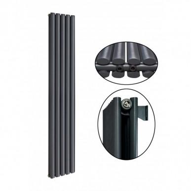 1800 x 350 mm Doppellagig Mittelanschluss Anthrazit Paneelheizkörper NEU Ellipse Design