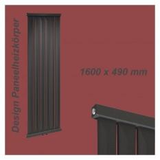 Paneelheizkörper 1600x490 Radfin-Diamond Anthrazit Mittelanschluss