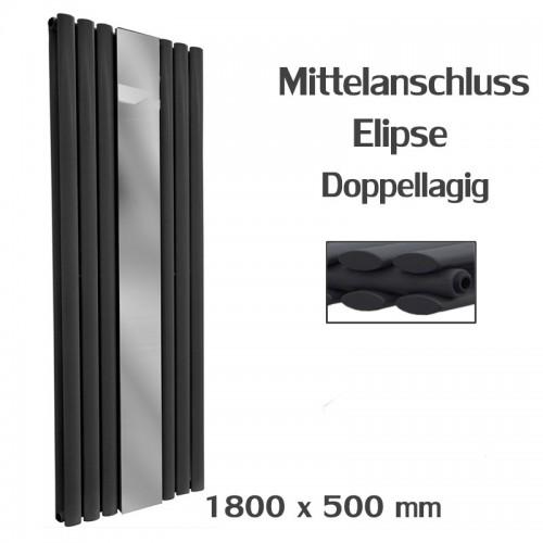 Spiegel Paneelheizkörper 1800x500 Doppellagig Anthrazit Ellipse Mittelanschluss