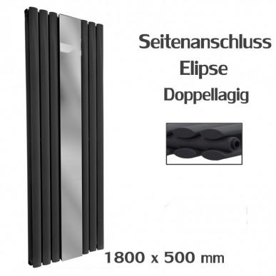 Spiegel Paneelheizkörper 1800x500 Doppellagig Anthrazit Ellipse Seitenanschluss
