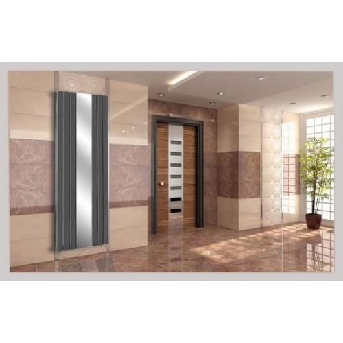 Spiegel Paneelheizkörper 1800x610 Doppellagig Anthrazit Flach Seitenanschluss
