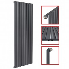 1600x619 FLACH Einlagig Anthrazit Seitenanschluss Paneelheizkörper