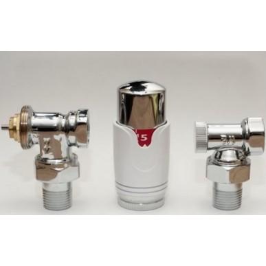 Anschlussset Thermostatventil Heizkörper Eck Ventilset Zulauf Rücklauf 1/2 Chrom